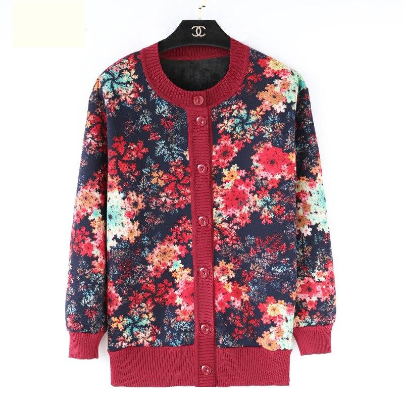 Femmes d'âge moyen printemps automne tricot tricoté chandail décontracté Cardigan grande taille dames manteau femme vêtements impression pull XL4XL