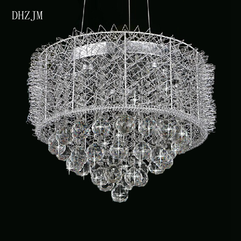 Chandeliers Dhzjm Luxury Modern Crystal Chandelier For Living Room Round Hanging Lighting Fixture Circle Design Led Lustres De Cristal