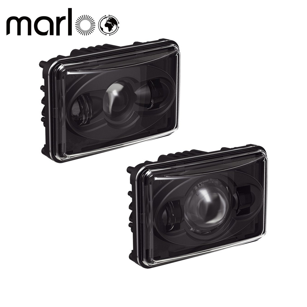 Marloo 4x6 inch Rectangular Projector LED Headlights Sealed High / Low Beam For Peterbilt Kenworth T800 T400 T600 W900B/L Trucks zy 108 3 ton nylon heavy duty car tow rope w double hooks green 4m