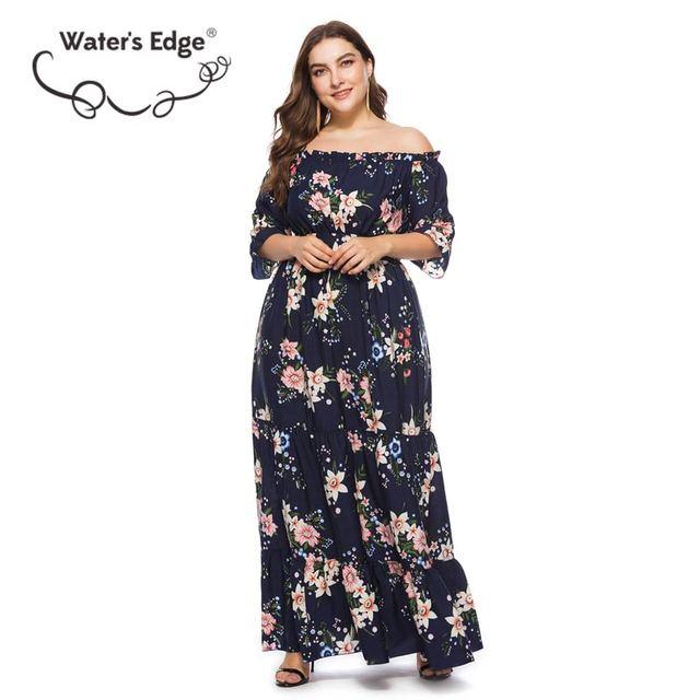 Water's Edge 5XL 6XL Flower Print Summer Dress Plus Size Slash Neck Off the Shoulder Lady Long Dresses Big Size Female Vestido