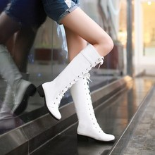 2016 Women's Fashion Lace Up Knee High Boots Thick Bottom Flat Platform Combat Boots Black Withe Plus Size