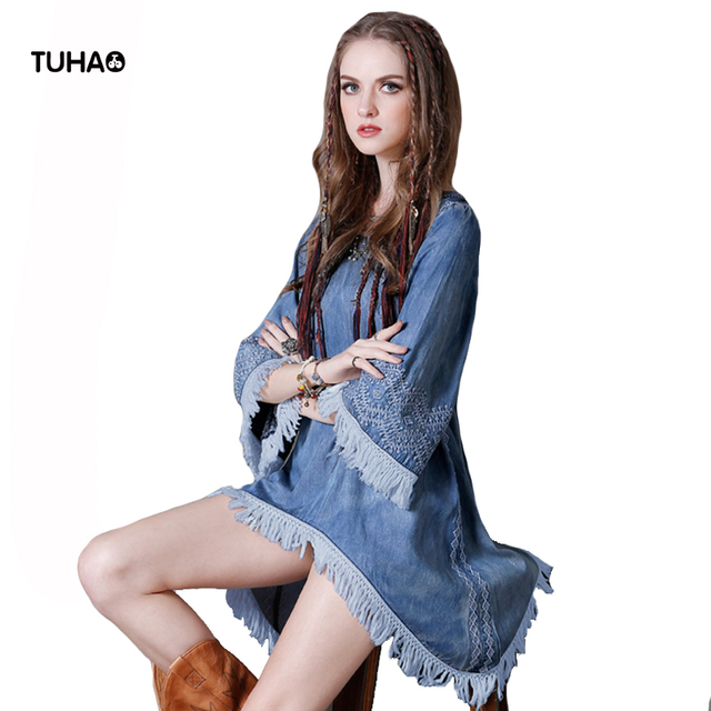 TUHAO Indie Folk Geometric Embroidery Retro Denim Dress Three Quarter  Tassel Asymmetrical Summer Dresses Women TA8128 bdd6fc4b7