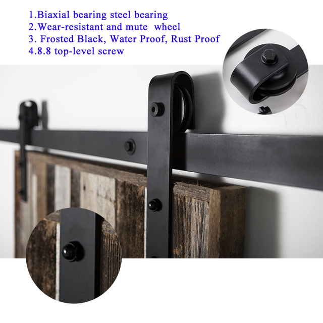 5FT/6FT/6.6FT/7.5FT/8FT American Style Interior Sliding Double Barn Door Hardware Bypass Wood Roller Closet Track Kit Set