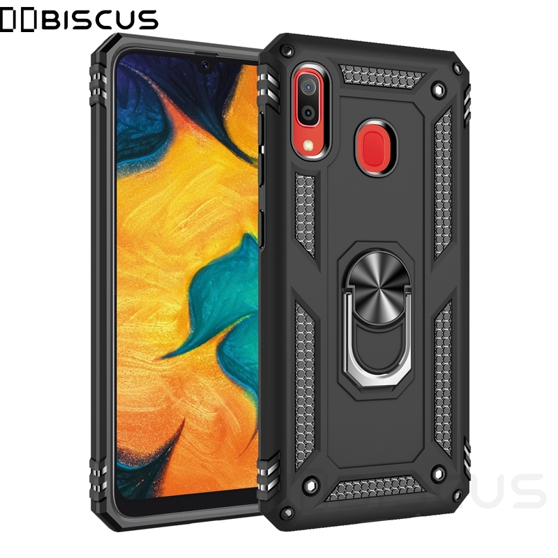Luxury Armor Soft Shockproof Case For Samsung Galaxy A30 2019 SM-A305F/DS A305FN A305 Silicone Bumper Hard Cover Metal Ring Case