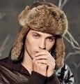 2015 moda Natural Genuine rabbit fur Real trampero del bombardero sombreros hombres mujeres invierno Aviator sombrero tapas sombrero casco caza