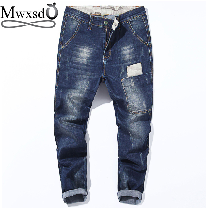 Mwxsd Brand Men Jeans Pants Mens Spring Autumn Hole Cotton Harem Denim Pants Male Beggar Elasticity Jeans Trouser
