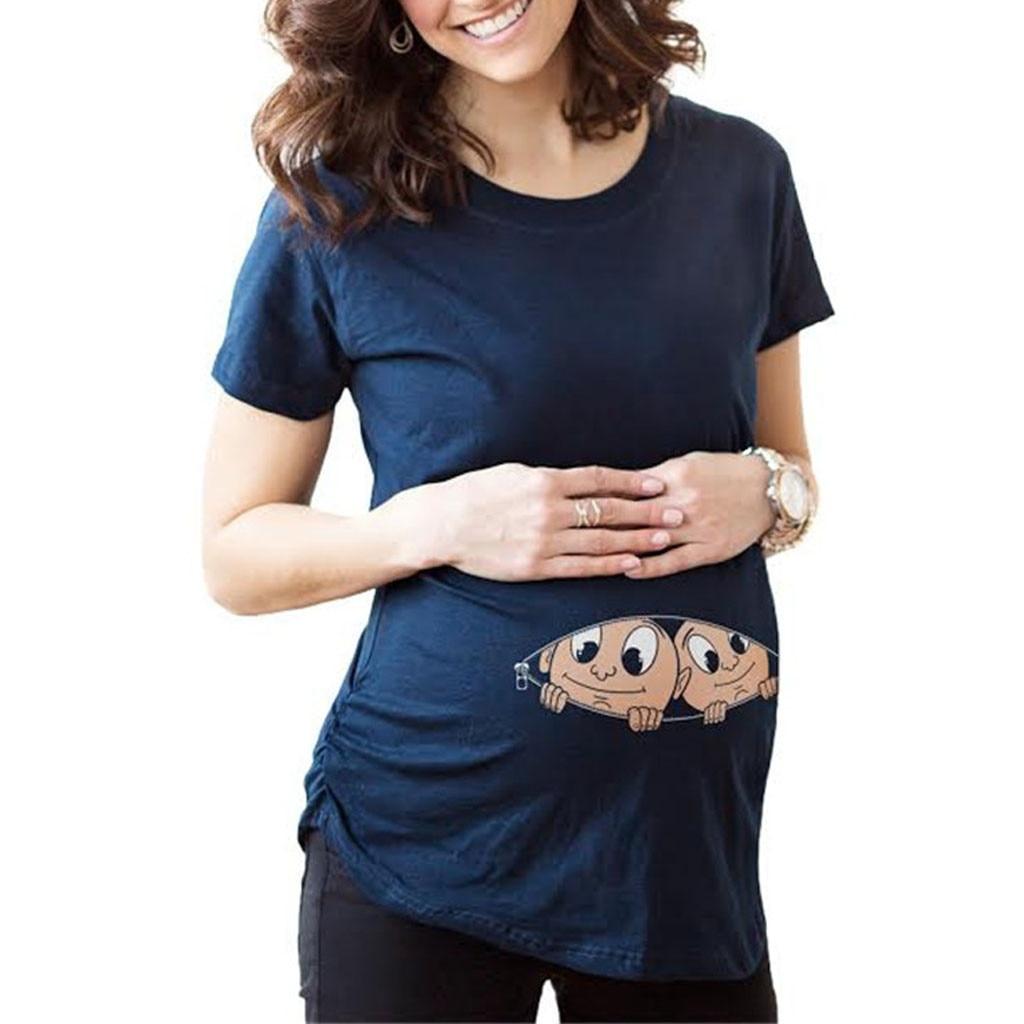 Ehrlich Frauen Twins Digitale Druck Schwangere Frauen Große Größe Lange Abschnitt Kurzarm T-shirt Mode Frauen Oansatz Schwangere Tops Eine GroßE Auswahl An Waren
