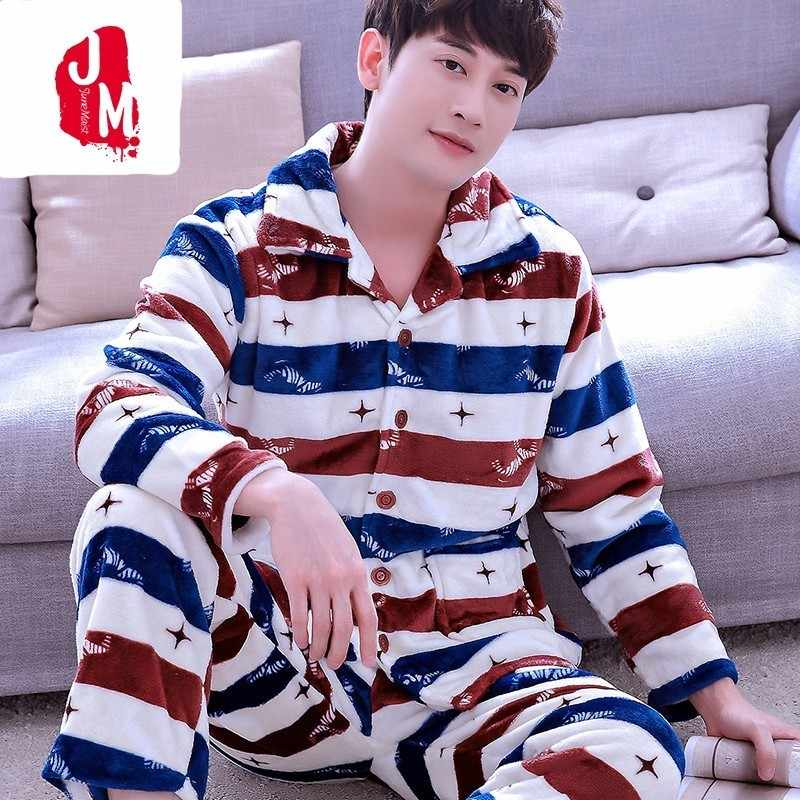 925fd245b8a6 Detail Feedback Questions about Men Pajama Set Winter Flannel Thick ...