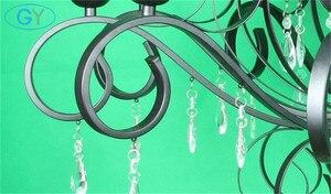 Image 3 - 현대 크리스탈 샹들리에 10 라이트 블랙 크리스탈 빗방울 장식 대형 샹들리에 거실 홈 조명 실내 램프