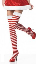 Over The Knee Socks Cotton Striped College Long Socks Women Knee Socks Christmas Red White