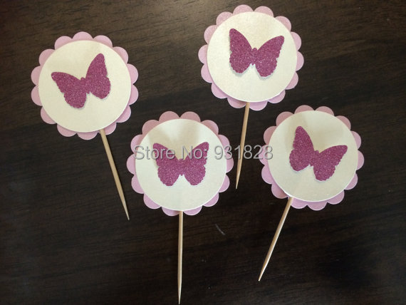 glitter butterfly party topper cupcake toppers food picks baby