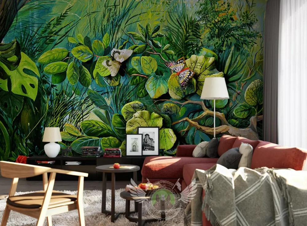 [Self-Adhesive] 3D Green Leaves Woods 33 Wall Paper Mural Wall Print Decal Wall Murals