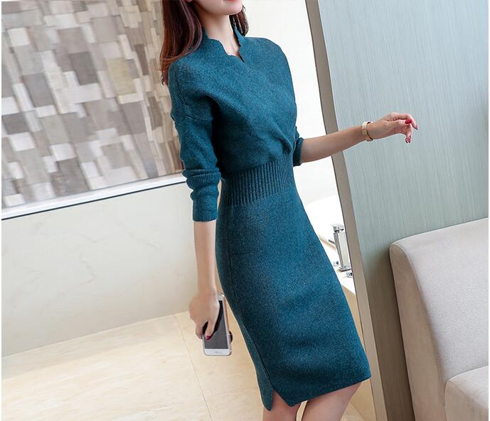 2018 Autumn Winter Womens Fashion Sexy Slim Cross V-Neck Sweater Dresses Female Long Sleeve Knitted Warm Thicken Sweater Dress 1