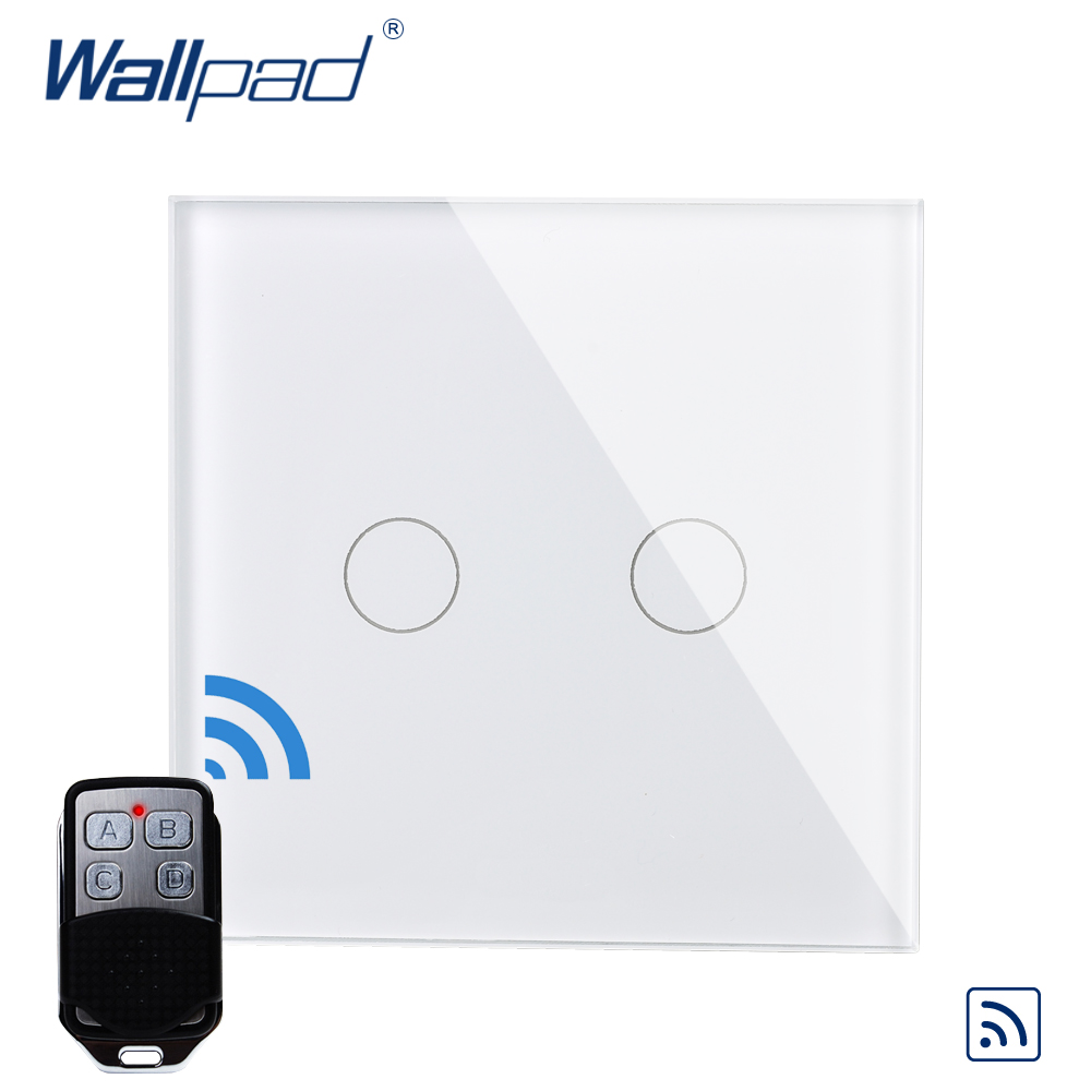 2 Gang 1 Way Remote Control Wallpad Luxury Crystal Glass Wall Light Touch Switch UK AC 110-250V With Remote Controller smart home luxury crystal glass 3 gang 1 way remote control wall light touch switch uk standard with remote controller