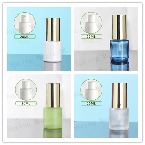 50 x 20ML Blue Green Frosted Glass Lotion Bottle with Gold Pump Sprayer Skin Care Container