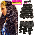 Malaysian Body Wave With Frontal Closure Hair 4 Bundles With Ear To Ear Lace Frontals Malaysian Virgin Hair With Frontal Closure