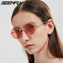Seemfly Vintage Men Women Sunglasses Punk Style Round Metal Frame Colorful Lens Sun Glasses Fashion Eyewear Gafas De Sol UV400