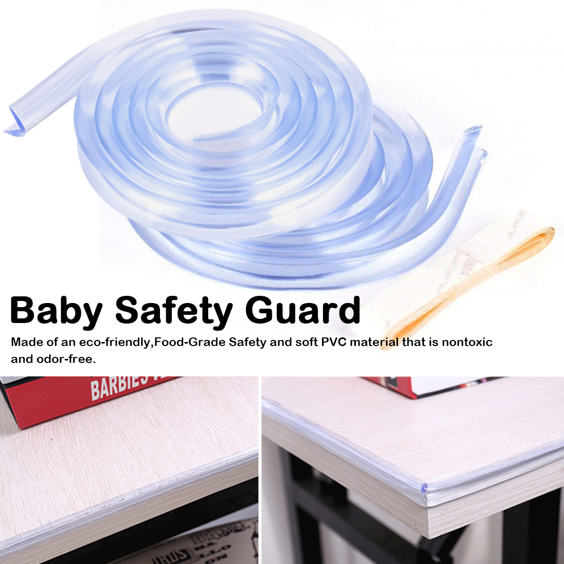 Reusable Baby Safety Corner Protection Strip Guards 1m Transparent Table Edge Furniture Corner Protectors Soft Silicone Bumper