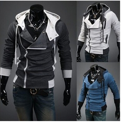 Free shipping clothes men's hooded hoodie jacket coat cardigan Slim Hooded cardigan  slim coat 4XL