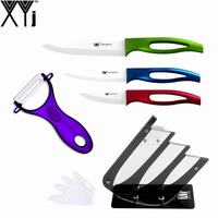 New Arrival White Blade Kitchen Knives 3 4 5 Inch Purple Peeler Black Knife Stand High