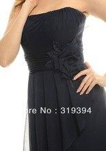 Simple Hot Fashion Chiffon Strapless Knee-Length Sleeveless Flowers Sash Bridesmaid Dresses 2016 Black Graduation Dress