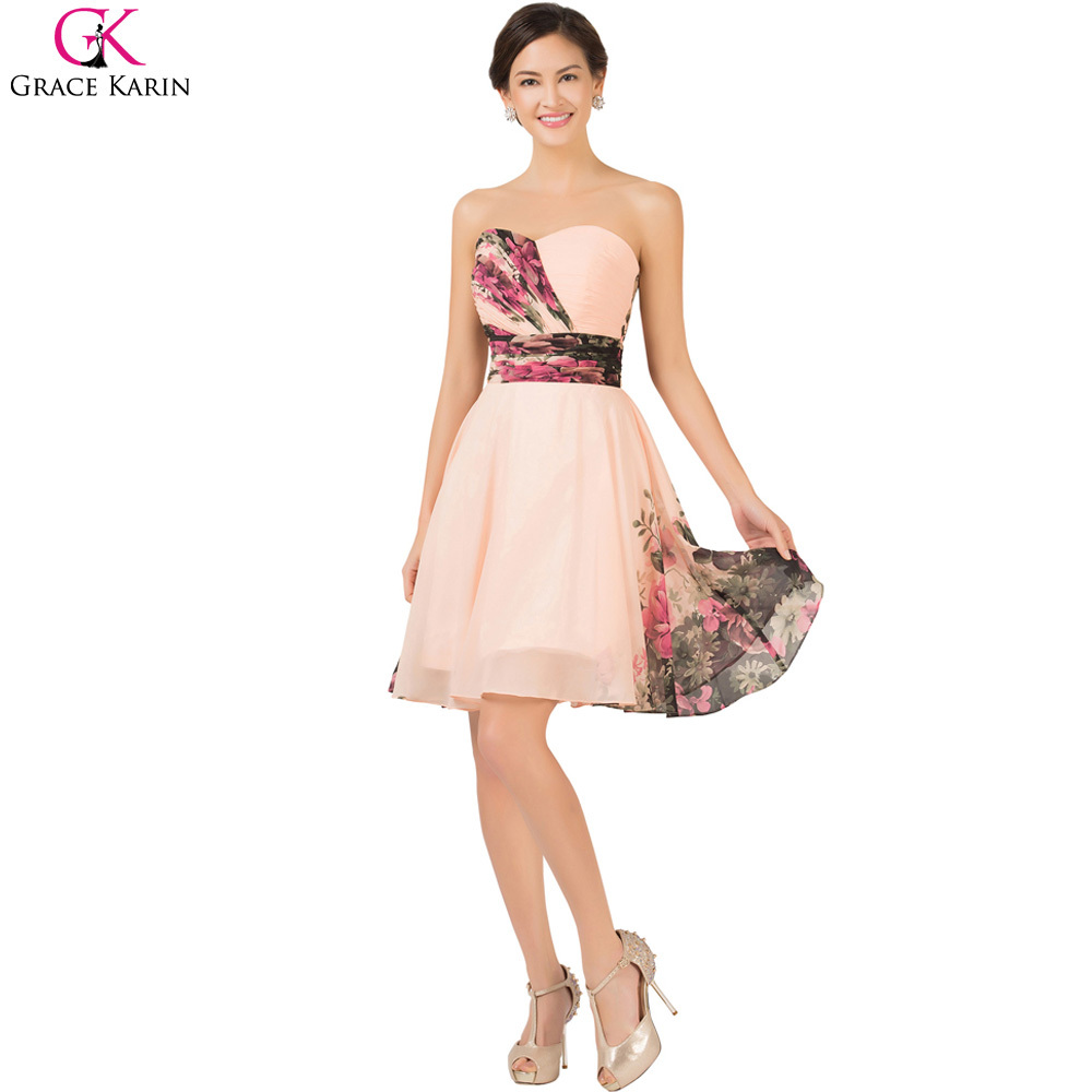 Short bridesmaid dresses grace karin flower pattern floral print short bridesmaid dresses grace karin flower pattern floral print chiffon plus size wedding party dress robe demoiselle dhonneur in bridesmaid dresses from ombrellifo Gallery