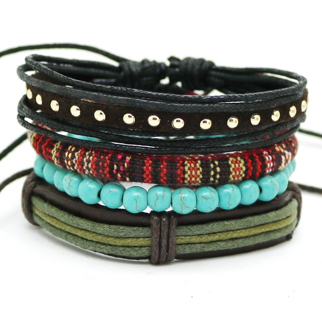 Купить мужской и женский кожаный плетеный браслет с якорем в стиле