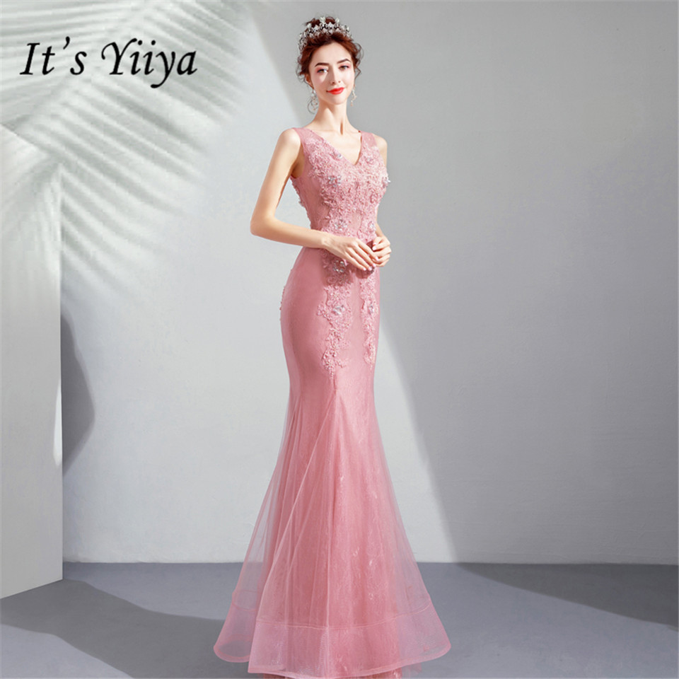It's YiiYa Mermaid   Evening     Dress   Pink Beading Pearls Appliques Wedding Party Trumpet   Dresses   Illusion V-neck Long Prom Gown E156