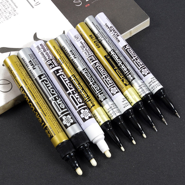 3 pcs Metallic marker pens set Silver Gold White permanent color ink EF F Medium point brush for manga drawing art supplies F863