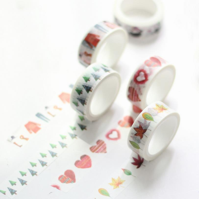 6pcs/lot Feather Love Heart color washi tape paper masking sticker Tape scrapbooking Decorative scotch DIY tape 15mmX7m 02480 kitmmmc32helmetsfunv72220 value kit scotch nfl helmet tape dispenser mmmc32helmetsf and universal smooth paper clips unv72220