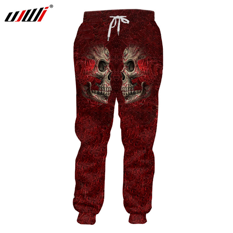 UJWI Men Casual Sweatpants Print Metal Skull 3d Jogger Harmen Pants Man Bodybuilding Fitness Elastic Waist Full Length Pants 5XL