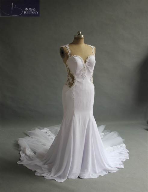 Top Quality Mermaid Wedding Dresses O Neck Fishtail Silhouette ...