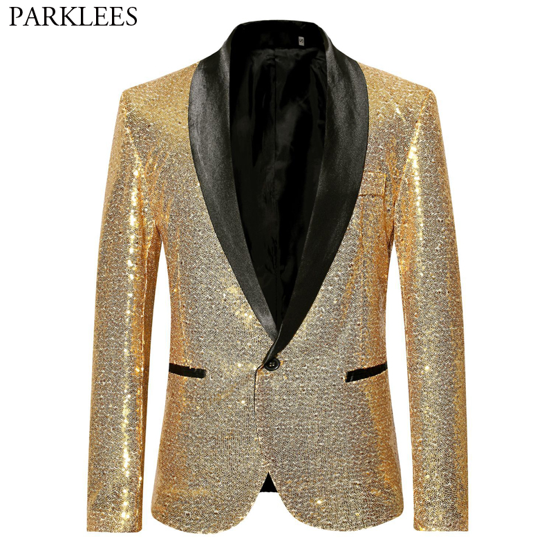 Shiny Gold Sequin Bling Glitter Suits&Blazer Men 2019 New Shawl Collar Club DJ Mens Blazer Jacket Stage Clothers For Singers Xxl