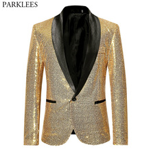 Shiny Gold Sequin Bling Glitter Suits&Blazer Men 2019 New Shawl Co