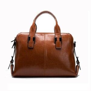 Image 2 - Bolsa feminina de couro de vaca real, bolsa de mão genuína de alta qualidade, design de marca de luxo