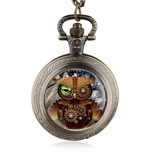 Vintage Bronze Steampunk OWl Necklace Quartz Pocket Watch Casual Man Women Watch