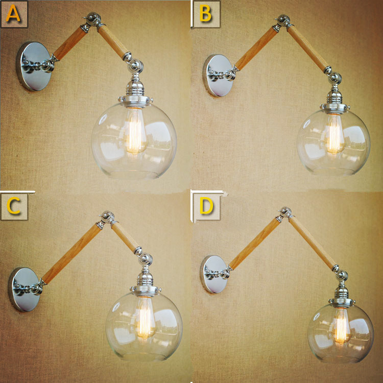 Wood Wall Sconces Antique Loft Industrial Wall Light Vintage Swing Long Arm Lamp Lampada Parete Appliques Murales Luminaire цена
