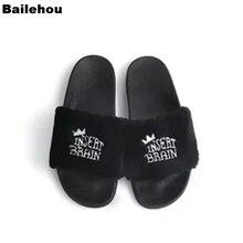 Bailehou женские меховые Тапочки Плюшевые Теплые Зимние Туфли домашние уличные шлепанцы слипоны Вьетнамки плоская повседневная обувь вышитая обувь