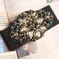 Cinturón ancho cinturón de moda negro Europea las mujeres del diamante de la correa decoración de la cintura joker cintura elástico Y112