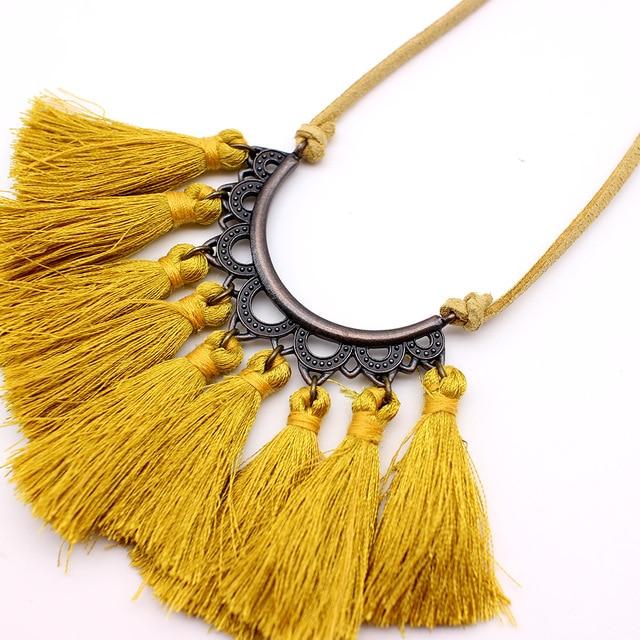 Vintage Leather Rope Tassel Pendant Necklace 2