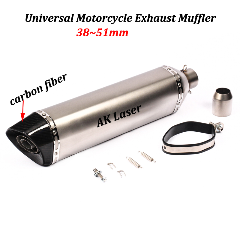 570mm Universal Motorcycle Exhaust Muffler Modified With Original Brand Laser Sticker For FZ8 MT 09 MT