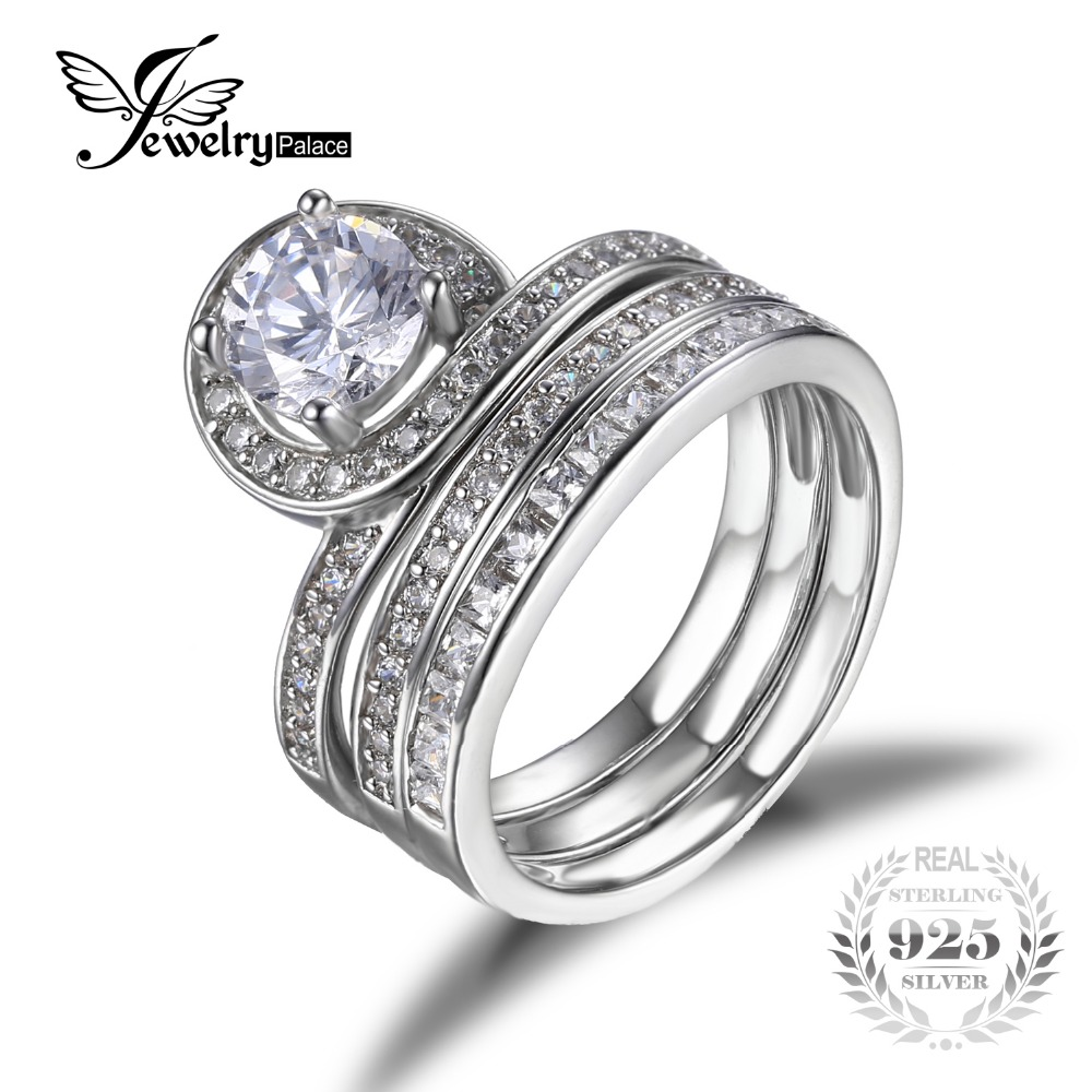 Jewelrypalace 17ct 3 Pcs Anniversary Wedding Band Halo Engagement Ring  Bridal Sets Genuine 925 Sterling