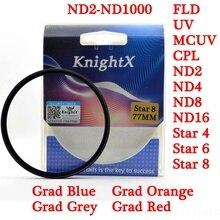 KnightX звезда поляризационный град красный ND UV CPL фильтр объектива камеры для sony Canon Nikon D5300 alpha 49 мм 52 мм 55 мм 58 мм 67 мм 72 мм gnd