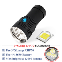 18650 rechargeable Camera fill light led flashlight 10000 lumens CREE xhp70 3led torch flashlight waterproof lantern searchlight