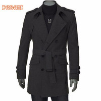 2019 Fashion Men Trench Coat Solid Causal Jacket Long Coat Men Slim Fit Double Breasted Belted Faux Wool Warm Overcoat Outerwear