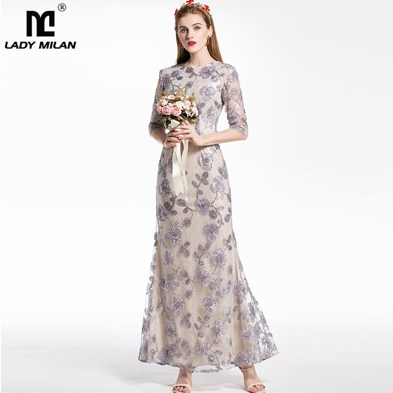 New Arrival 2018 Womens O Neck Long Sleeves Embroidery Appliques Elegant Mermaid Long Designer Prom Dresses Runway Fashion