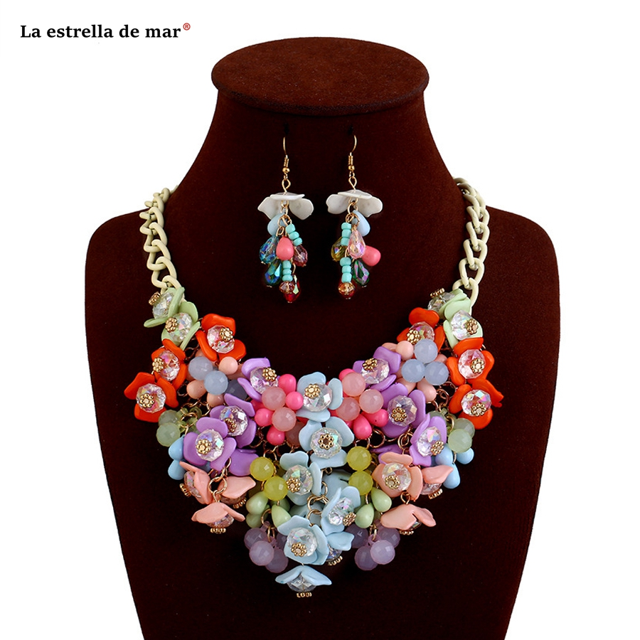 Jewelry sets2018 new color crystal earrings necklace set beautiful nigerian beads necklace jewelry set wholesale