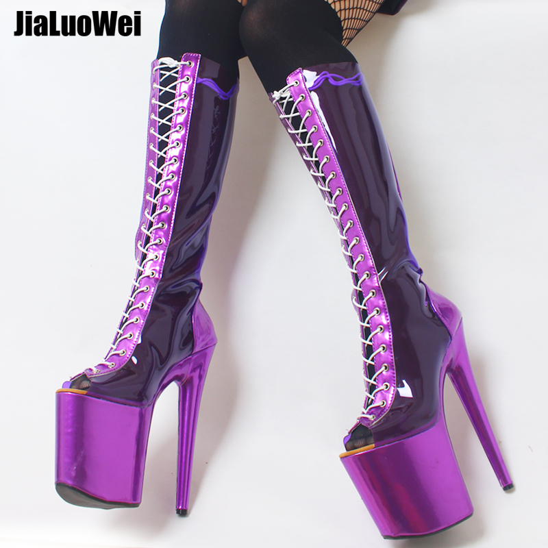 jialuowei 2018 New 20CM Super High Spike Heel Platform Lace-up Women Sexy Peep Toe Party Nightclub Knee-High Boots Metallic Blue jialuowei women sexy fashion shoes lace up knee high thin high heel platform thigh high boots pointed stiletto zip leather boots