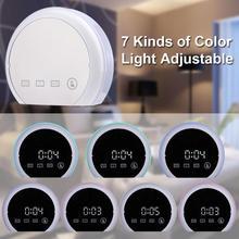 Multifunction Electronic Desk Clock Touch Control RGB LED Mirror Clock with Temperature Alarm Despertador Home Decor