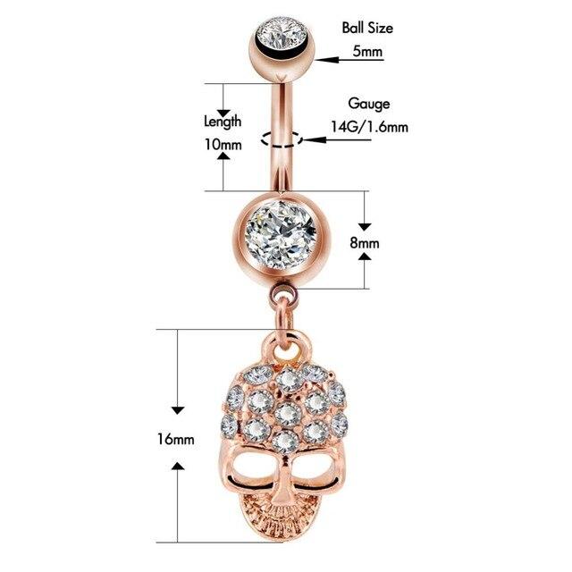 Тело панк 1 шт 14 г розовое золото пупка кнопки кольца хирургический